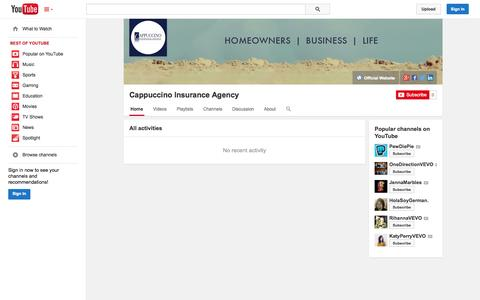 Screenshot of YouTube Page youtube.com - Cappuccino Insurance Agency  - YouTube - captured Nov. 1, 2014