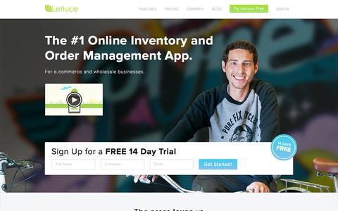 Screenshot of Home Page lettuceapps.com - Online Inventory Management and Order Management | Lettuce - captured Sept. 16, 2014