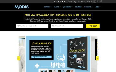 Screenshot of Home Page modis.com - Modis IT Staffing - Tech Staffing Agency - captured Jan. 15, 2016