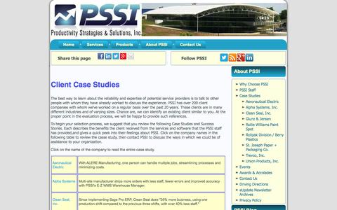 Screenshot of Case Studies Page pssiusa.com - Case Studies  |  PSSIUSA - captured Oct. 3, 2014