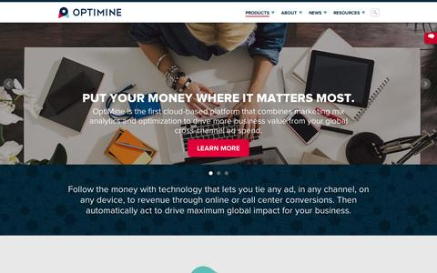 Screenshot of Home Page Menu Page optimine.com - Marketing Mix Analytics and Optimization | OptiMine Software - captured Sept. 11, 2014
