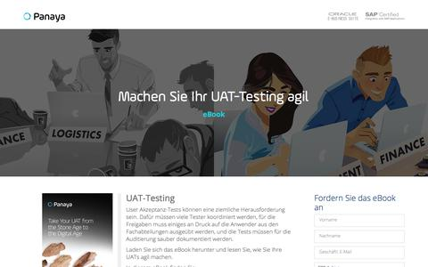 Screenshot of Landing Page panaya.com - Modern Age UAT Testing eBook - captured Sept. 12, 2018