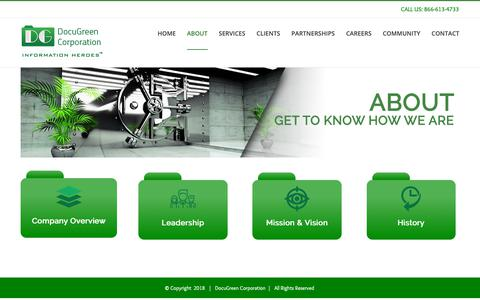Screenshot of About Page docugreen.com - About – Welcome to Docugreen - captured Oct. 9, 2018