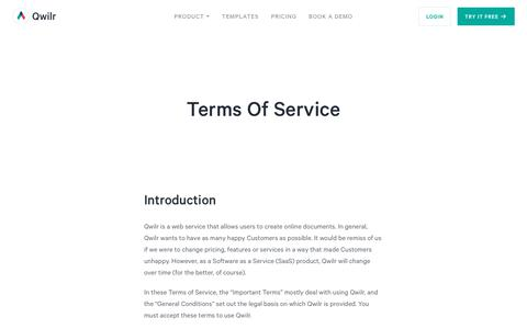 Terms Of Service - Qwilr
