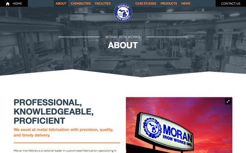 Screenshot of About Page moraniron.com - About - Moran Iron - captured March 7, 2016