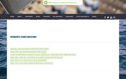 Screenshot of FAQ Page 947thepulse.com - FAQs - captured Nov. 15, 2017