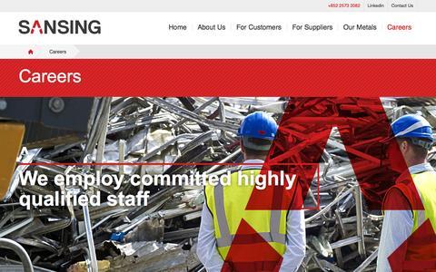 Screenshot of Jobs Page sansinghk.com - Sansing | Careers - captured Oct. 1, 2014