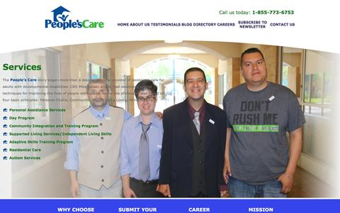 Screenshot of Services Page peoplescare.com - People's Care - Residential Care / Developmental Disabilities / Health Care - Chino Hills, California - Services - captured Feb. 9, 2017