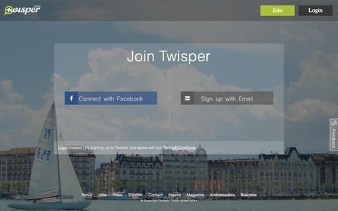 Screenshot of Signup Page twisper.com - Join - captured Nov. 2, 2014