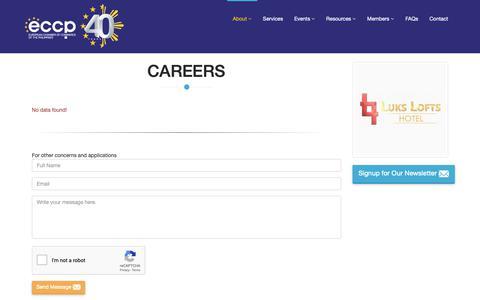 Screenshot of Jobs Page eccp.com - Careers - captured Sept. 29, 2018