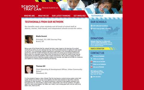 Screenshot of Testimonials Page schoolsthatcan.org - Testimonials from Our Network «  Schools That Can - captured Oct. 2, 2014