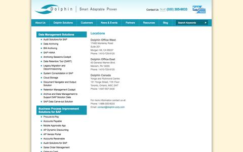 Screenshot of Locations Page dolphin-corp.com - Dolphin - SAP Business Process Management and Data Archiving - captured Oct. 5, 2014