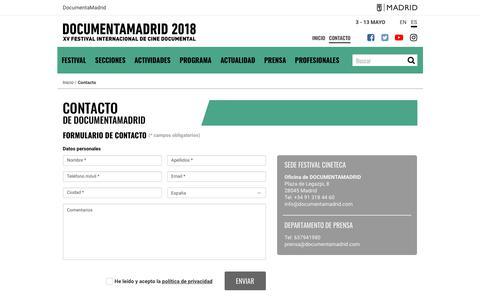 Screenshot of Contact Page documentamadrid.com - Contacto | DocumentaMadrid - captured June 10, 2018