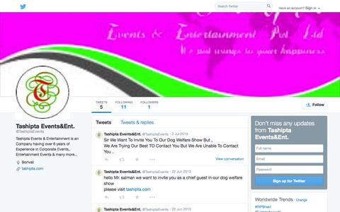 Screenshot of Twitter Page twitter.com - Tashipta Events&Ent. (@TashiptaEvents) | Twitter - captured Oct. 26, 2014