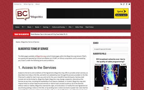 Screenshot of Terms Page blogcritics.org - Blogcritics Terms of Service | Blogcritics - captured Sept. 19, 2014
