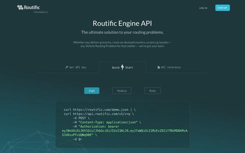 Screenshot of Developers Page routific.com - Vehicle Routing Problem, Route Optimization API Đ Developers - captured Nov. 11, 2015