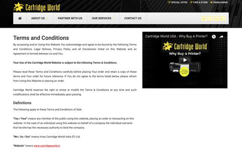 Screenshot of Terms Page cartridgeworld.in - Terms and Conditions | Cartridge World - captured Oct. 3, 2018