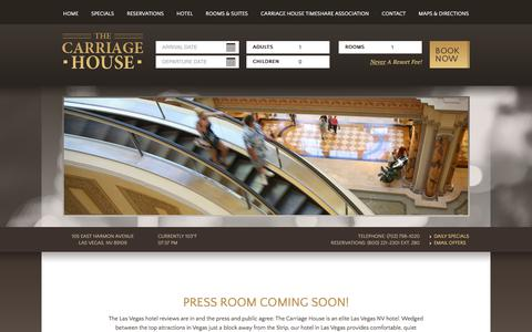 Screenshot of Press Page carriagehouselasvegas.com - Press Room | The Carriage House Off Strip Hotel | Las Vegas - captured July 3, 2018