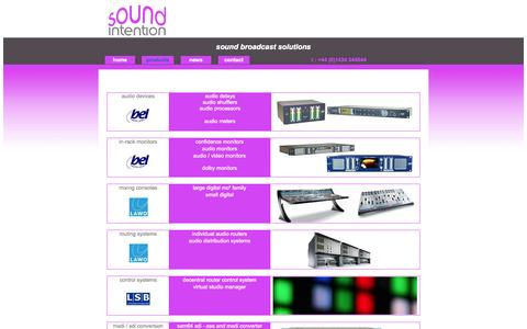 Screenshot of Products Page soundintention.co.uk - Sound Intention Ltd - captured Oct. 6, 2014