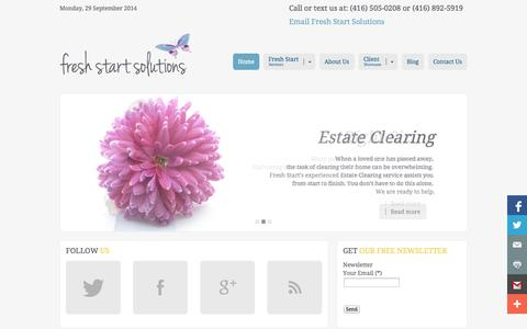 Screenshot of Home Page freshstartsolutions.ca - Fresh Start Solutions - captured Sept. 30, 2014