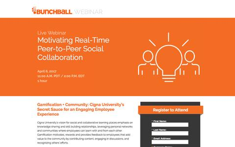 Screenshot of Landing Page bunchball.com - Motivating Real-Time Peer-to-Peer Social Collaboration - captured April 12, 2017