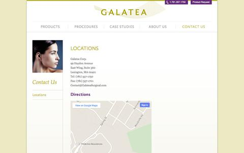 Screenshot of Locations Page galateasurgical.com - Locations   Galatea SurgicalGalatea Surgical - captured Sept. 30, 2014