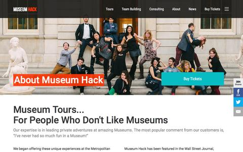 Screenshot of About Page museumhack.com - Exciting museum tour for people who don't like museums - captured Dec. 19, 2016