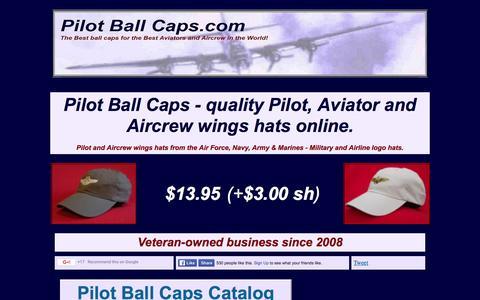 Screenshot of Home Page pilotballcaps.com - Pilot Ball Caps, quality pilot aviator wings hats online - captured Dec. 9, 2015