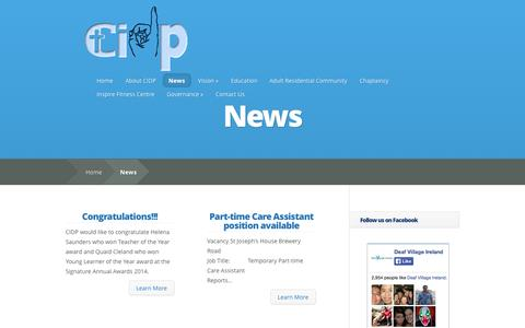 Screenshot of Press Page cidp.ie - News | Catholic Institute for Deaf People - captured Oct. 26, 2014