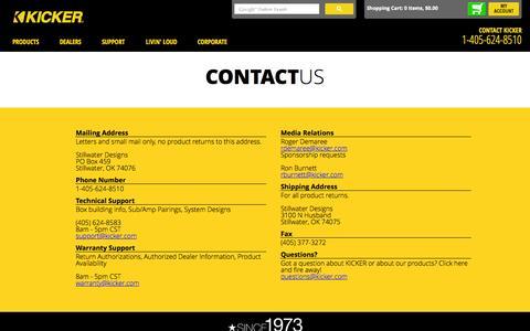 Screenshot of kicker.com - Contact Us  | KICKER® - captured Oct. 3, 2015