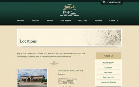 Screenshot of Locations Page heritagefuneralchapels.com - Heritage Funeral Homes • Peoria, El Mirage, Prescott, Casa Grande, Coolide, Florence, Chino Valley and Dewey, Arizona - captured Sept. 28, 2018
