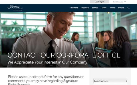 Screenshot of Contact Page signatureflight.com - Signature Flight Support | Contact Our Corporate Office - captured Feb. 18, 2018