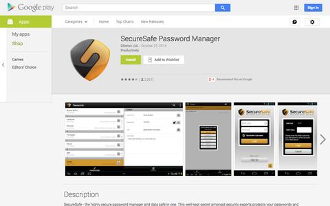 Screenshot of Android App Page google.com - SecureSafe Password Manager - Android Apps on Google Play - captured Oct. 30, 2014