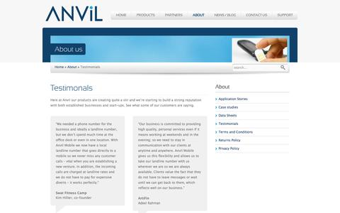 Screenshot of Testimonials Page anvilmobile.com - Testimonials - Anvil Mobile - Secure Data and Voice Communications - captured Feb. 6, 2016