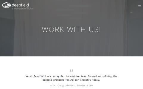 Screenshot of Jobs Page deepfield.com - We are seeking innovative, talented, and collaborative team members in Austin and Ann Arbor — Deepfield.com - captured June 4, 2017