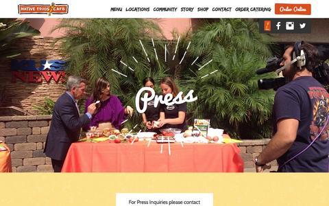 Screenshot of Press Page nativefoods.com - Press | Native Foods Cafe - captured Feb. 4, 2016