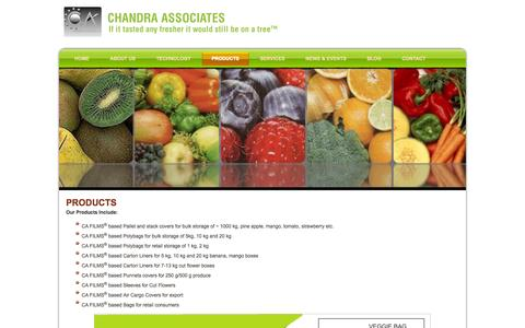 Screenshot of Products Page chandraassociates.com - Chandra Associates: PRODUCTS - captured Sept. 29, 2014