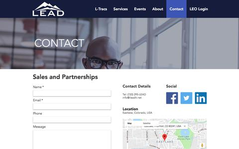 Screenshot of Contact Page ileadit.net - LEAD Impairement Training - Trusted Consultant and Training Services | Contact - captured Sept. 25, 2018