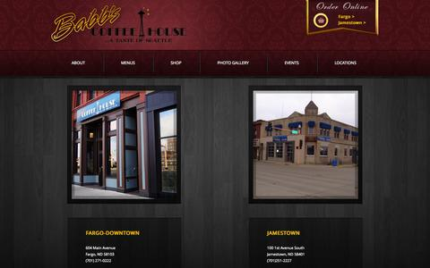 Screenshot of Locations Page babbscoffeehouse.com - Locations - captured Sept. 30, 2014