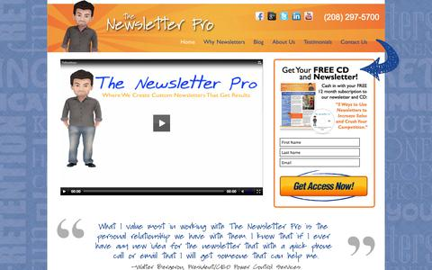 Screenshot of Home Page thenewsletterpro.com - Newsletter Marketing - Newsletter Management - The Newsletter Pro - captured Oct. 9, 2014