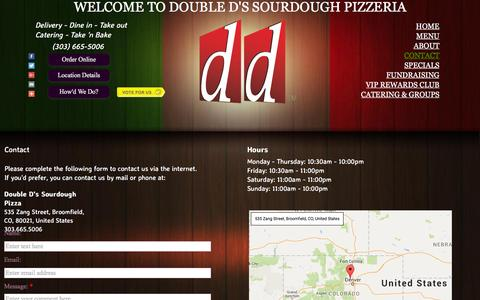 Screenshot of Contact Page Maps & Directions Page doubledspizza.com - Double D's Sourdough Pizza - Location And Restaurant Hours, Pizza Shop, Local Pizza Delivery - captured Feb. 9, 2016