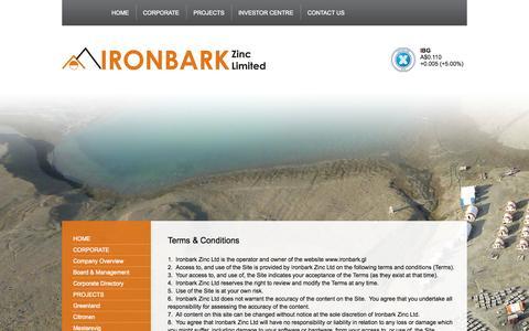 Screenshot of Terms Page ironbark.gl - Terms & Conditions | IRONBARKIRONBARK - captured Oct. 6, 2014