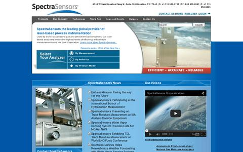 Screenshot of Home Page spectrasensors.com - SpectraSensors - Leading Global Provider of Laser-Based Process Instrumentation - Moisture Analyzers & Gas Analyzers - Houston, TX SpectraSensors - captured July 17, 2014