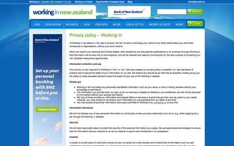 Screenshot of Privacy Page workingin-newzealand.com - Privacy policy - Working In | Working In New Zealand - captured Nov. 4, 2014