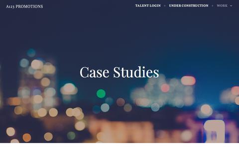 Screenshot of Case Studies Page wordpress.com - Case Studies – A123 Promotions - captured July 6, 2018