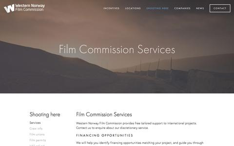 Screenshot of Services Page wnfc.no - Services — Western Norway Film Commission - captured Dec. 16, 2016