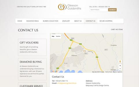 Screenshot of Contact Page gleesongoldsmiths.ie - Contact Us | Gleeson Goldsmith - captured April 8, 2016
