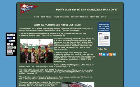 Screenshot of Testimonials Page bigleaguetours.com - Testimonials | Family Tours | Baseball Trips and Tours - captured Oct. 29, 2014