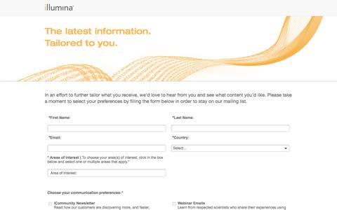 Screenshot of Landing Page illumina.com captured April 27, 2018