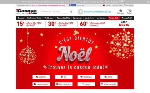 Screenshot of Home Page icasque.com - Casques de moto, scooter et Žquipements avec iCasque - captured Nov. 22, 2015
